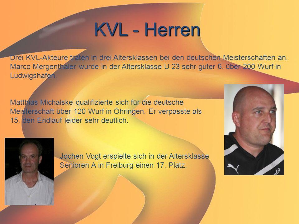 KVL - Herren Drei KVL-Akteure traten in drei Altersklassen bei den deutschen Meisterschaften an.