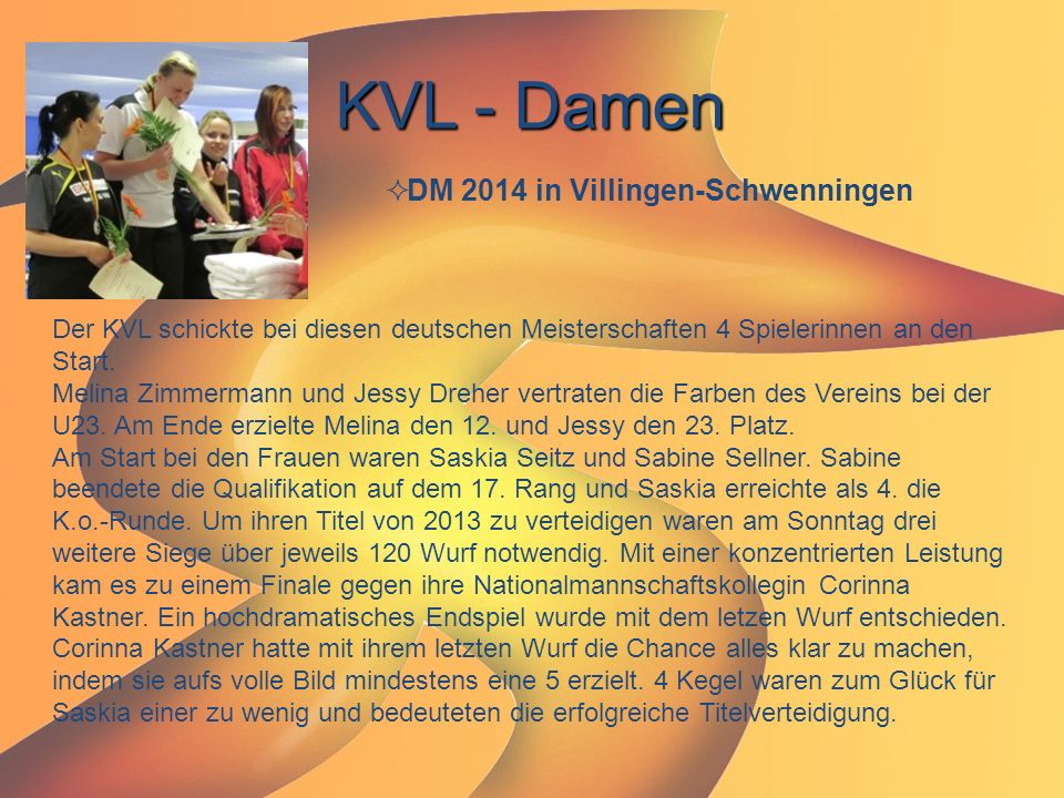 KVL - Damen DM 2014 in Villingen-Schwenningen
