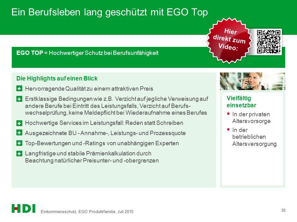Ein Berufsleben lang geschützt mit EGO Top