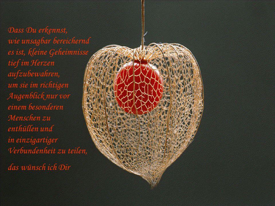 Dass Du erkennst, wie unsagbar bereichernd es ist, kleine Geheimnisse tief im Herzen aufzubewahren, um sie im richtigen Augenblick nur vor einem besonderen Menschen zu enthüllen und in einzigartiger Verbundenheit zu teilen,