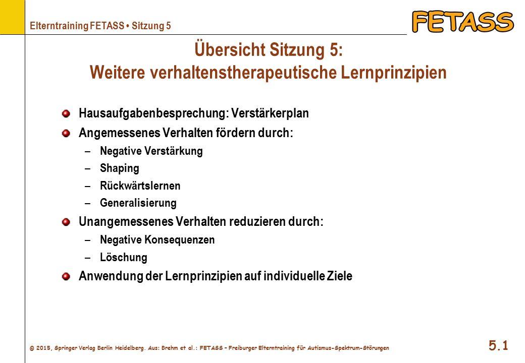 Übersicht Sitzung 5: Weitere verhaltenstherapeutische Lernprinzipien