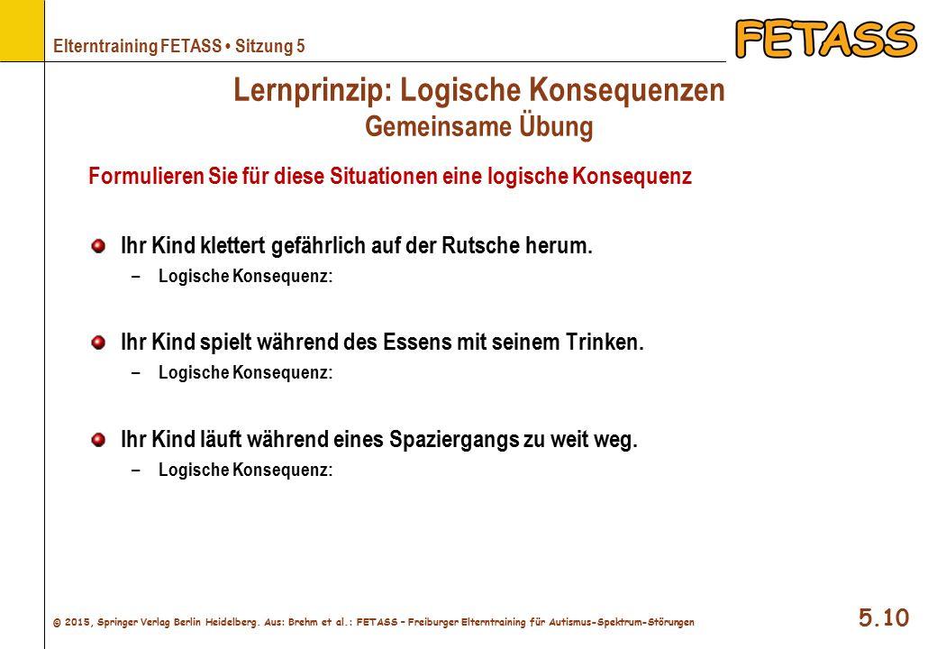 Lernprinzip: Logische Konsequenzen Gemeinsame Übung