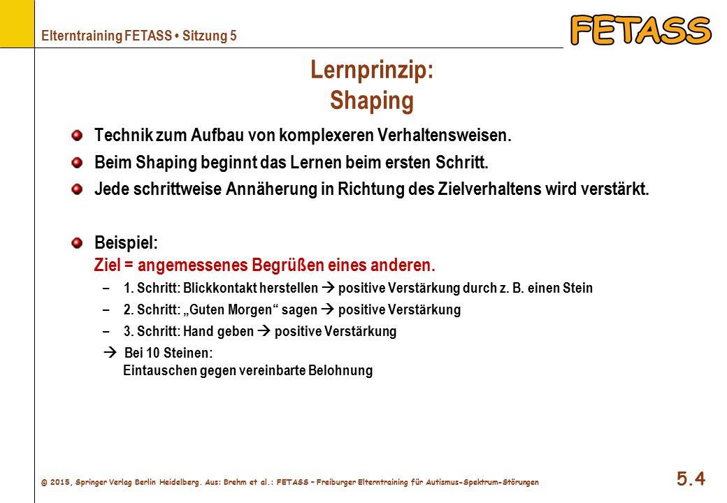 Lernprinzip: Shaping Technik zum Aufbau von komplexeren Verhaltensweisen. Beim Shaping beginnt das Lernen beim ersten Schritt.