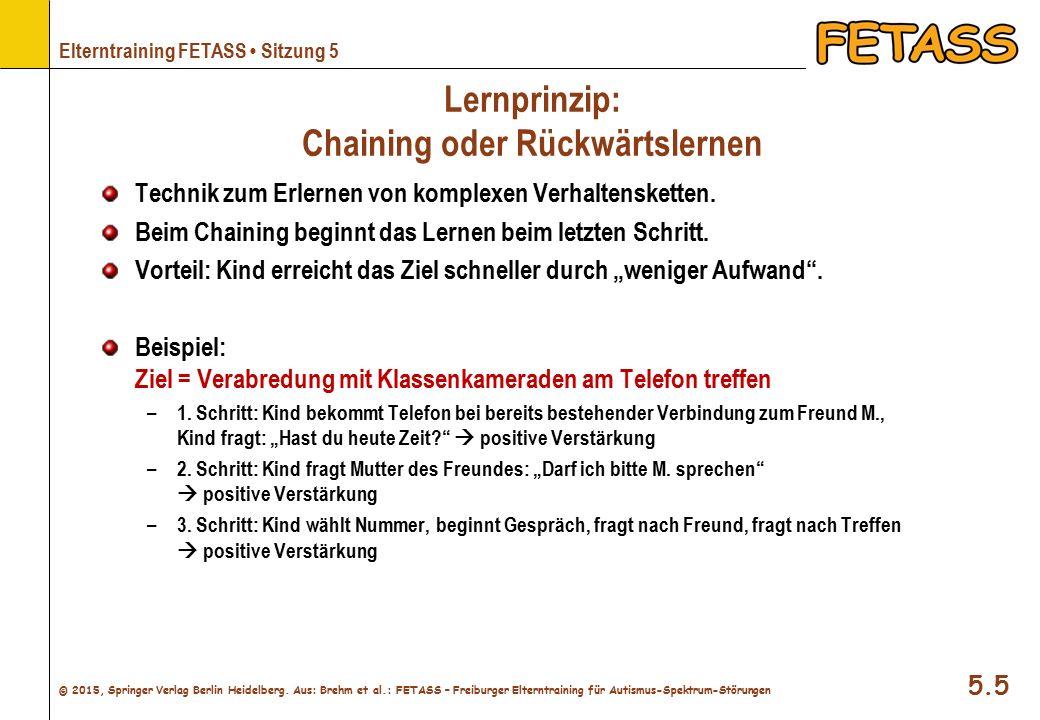 Lernprinzip: Chaining oder Rückwärtslernen