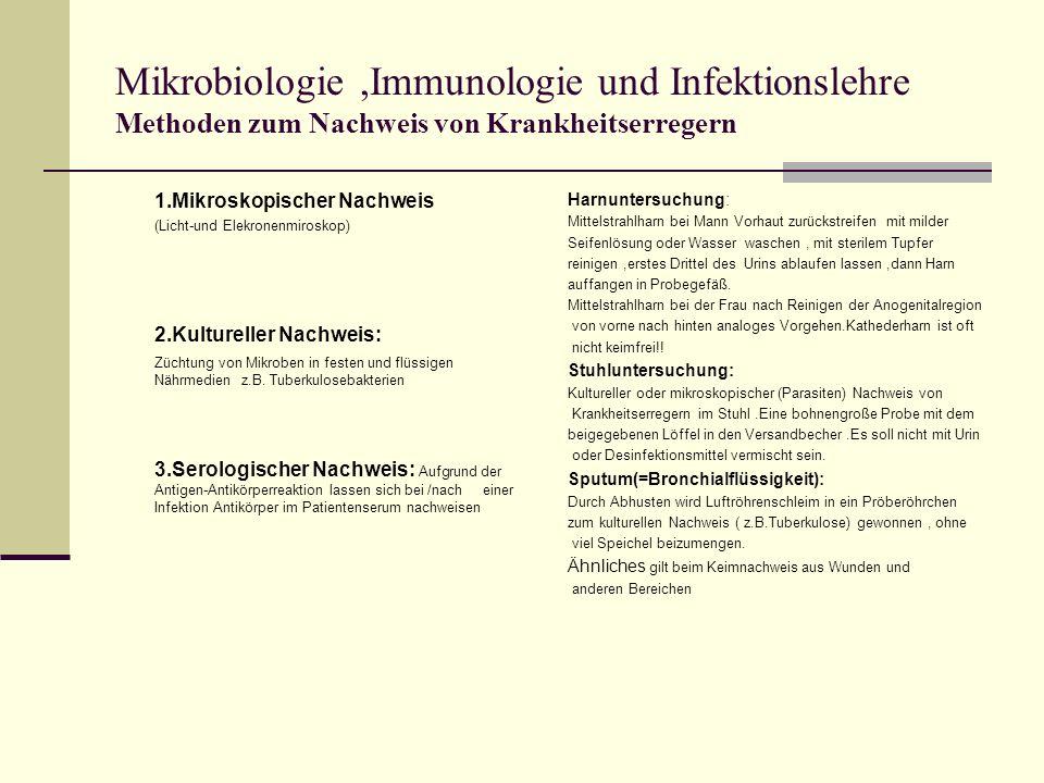 Mikrobiologie ,Immunologie und Infektionslehre Methoden zum Nachweis von Krankheitserregern