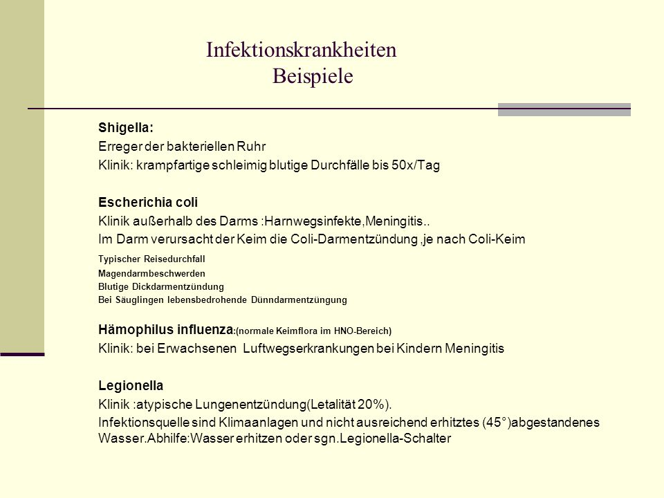 Infektionskrankheiten Beispiele