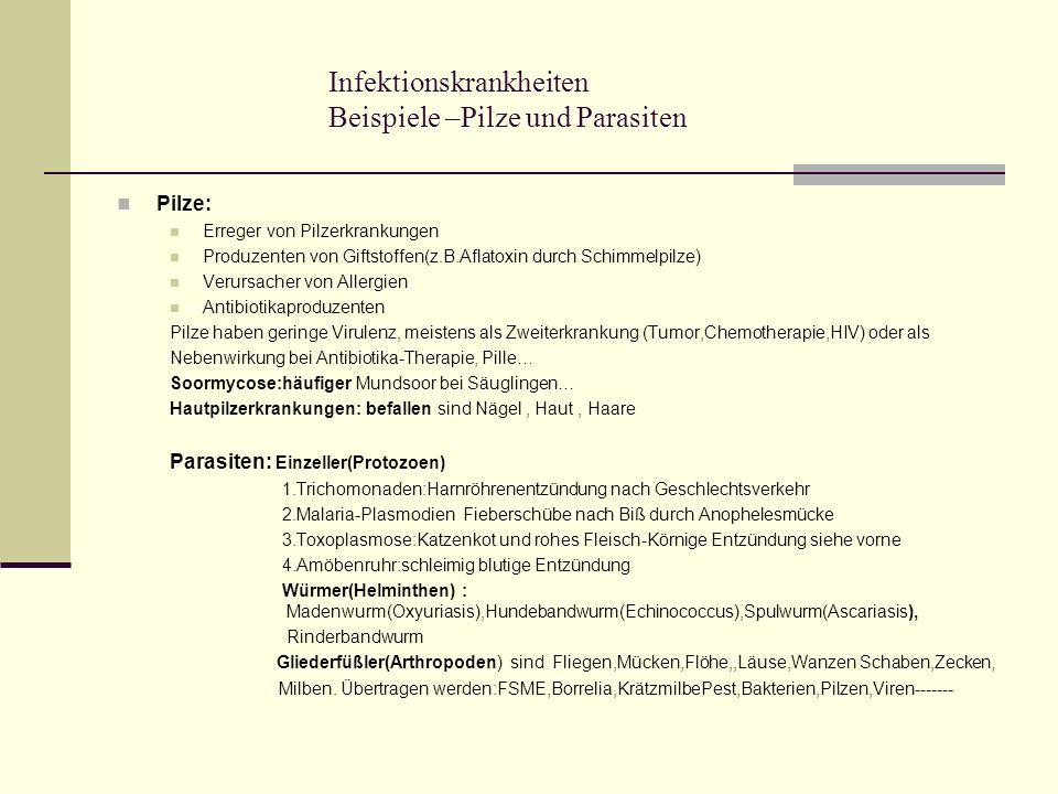 Infektionskrankheiten Beispiele –Pilze und Parasiten