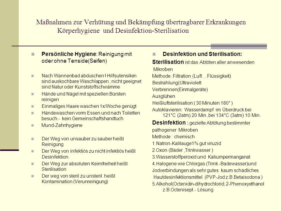 Maßnahmen zur Verhütung und Bekämpfung übertragbarer Erkrankungen Körperhygiene und Desinfektion-Sterilisation