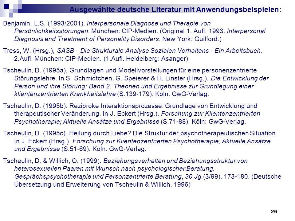 Ausgewählte deutsche Literatur mit Anwendungsbeispielen: