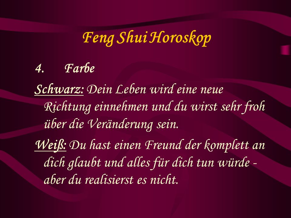 Feng Shui Horoskop 4. Farbe