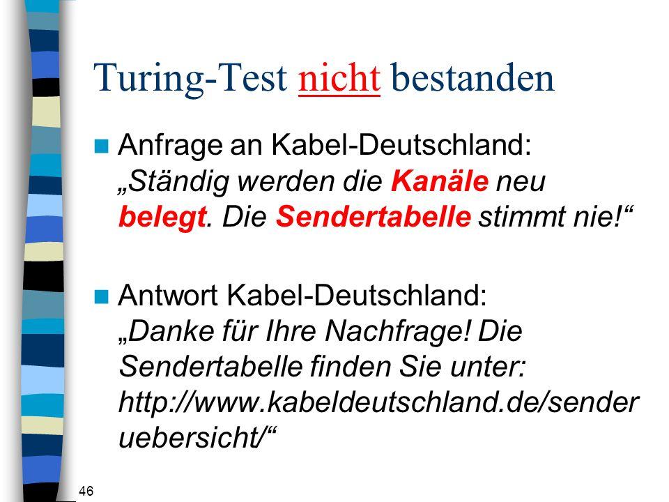Turing-Test nicht bestanden