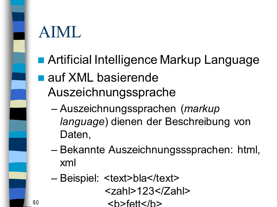 AIML Artificial Intelligence Markup Language
