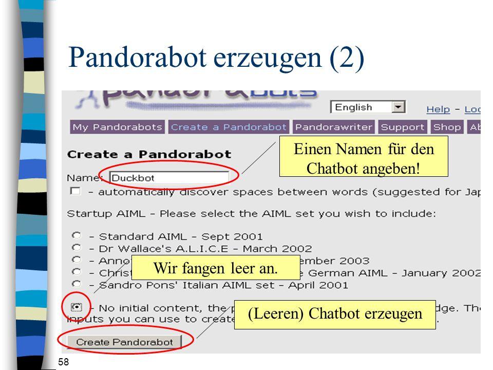 Pandorabot erzeugen (2)