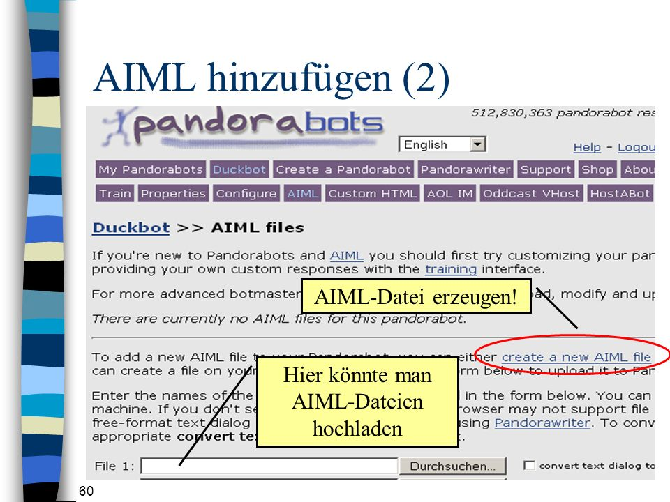 AIML-Dateien hochladen
