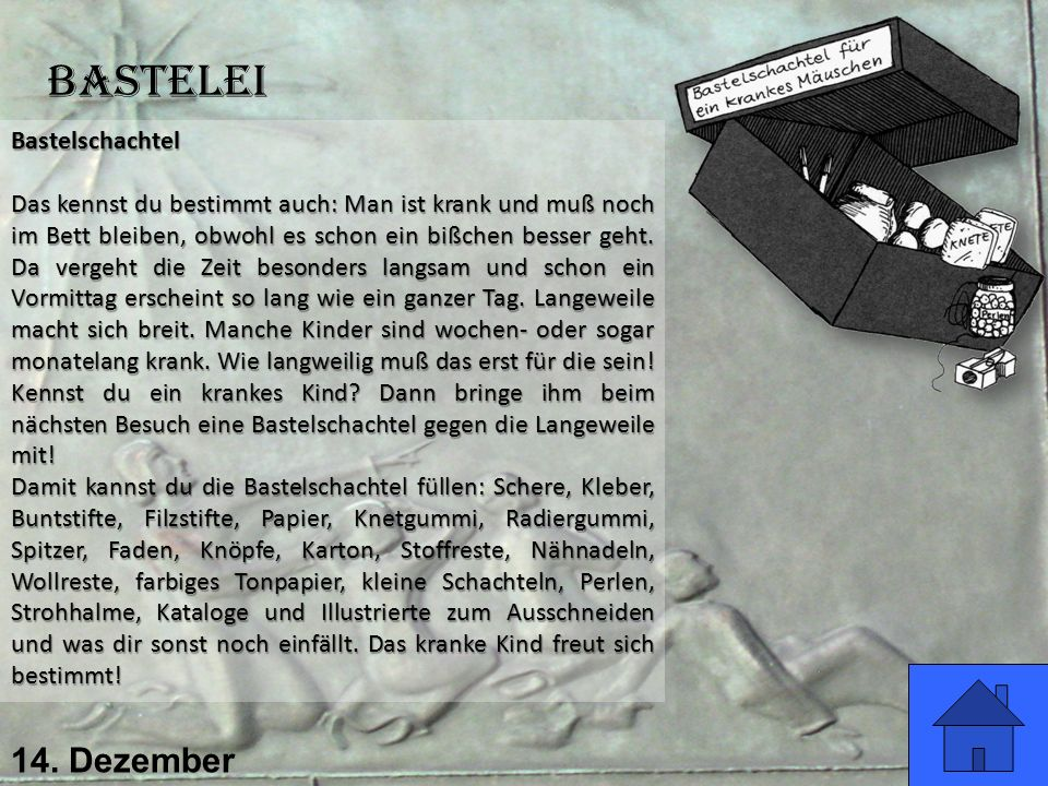 Bastelei 14. Dezember Bastelschachtel