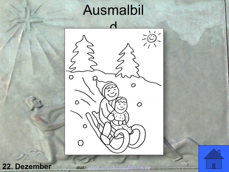 Ausmalbild Viel Spaß! 22. Dezember aus: www.schule-und-familie.de