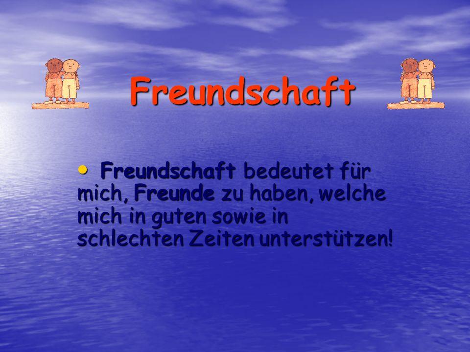 Freundschaft Freundschaft bedeutet für mich, Freunde zu haben, welche mich in guten sowie in schlechten Zeiten unterstützen!
