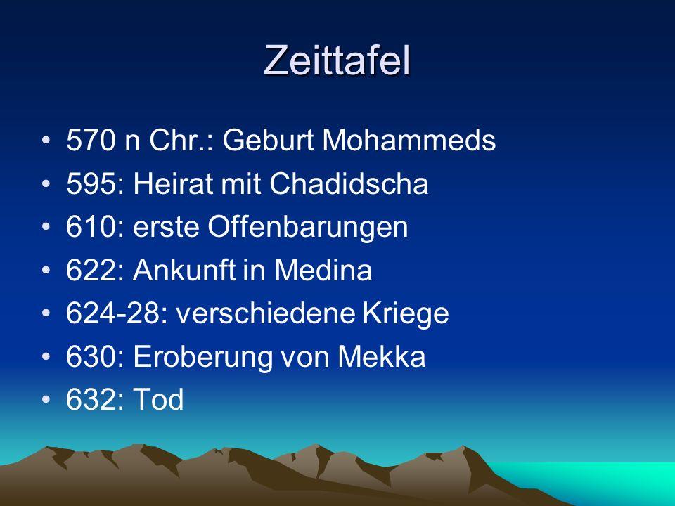 Zeittafel 570 n Chr.: Geburt Mohammeds 595: Heirat mit Chadidscha