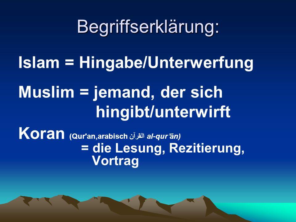 Begriffserklärung: Islam = Hingabe/Unterwerfung
