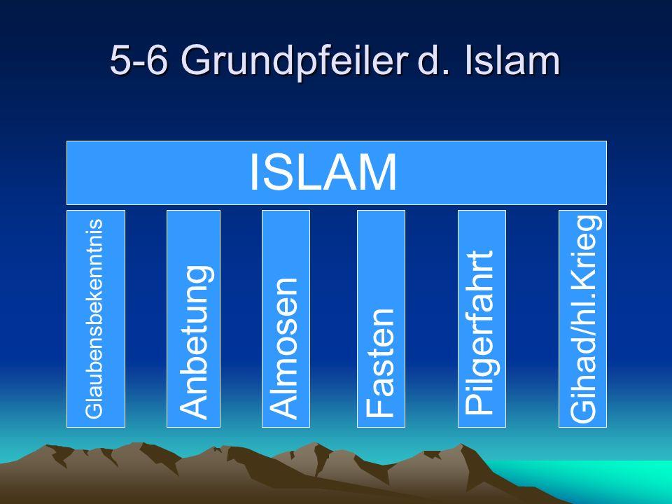 ISLAM 5-6 Grundpfeiler d. Islam Pilgerfahrt Anbetung Almosen Fasten