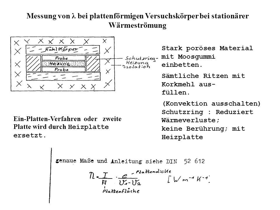 Messung von λ bei plattenförmigen Versuchskörper bei stationärer Wärmeströmung