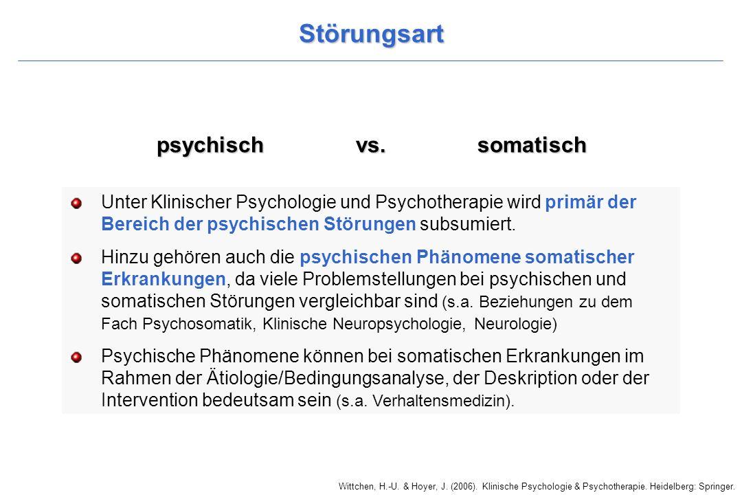 Störungsart psychisch vs. somatisch