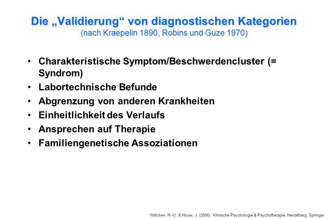 """Die """"Validierung von diagnostischen Kategorien (nach Kraepelin 1890, Robins und Guze 1970)"""