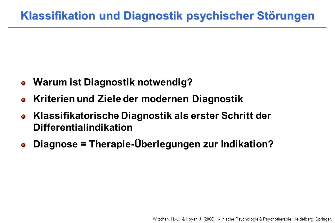 Klassifikation und Diagnostik psychischer Störungen