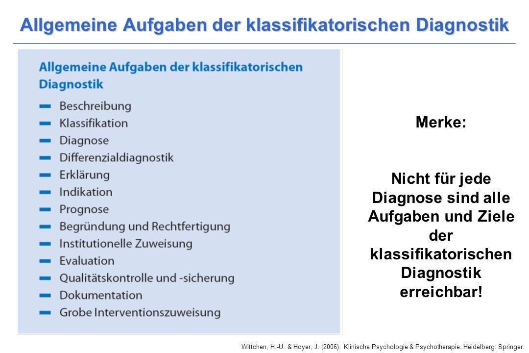 Allgemeine Aufgaben der klassifikatorischen Diagnostik