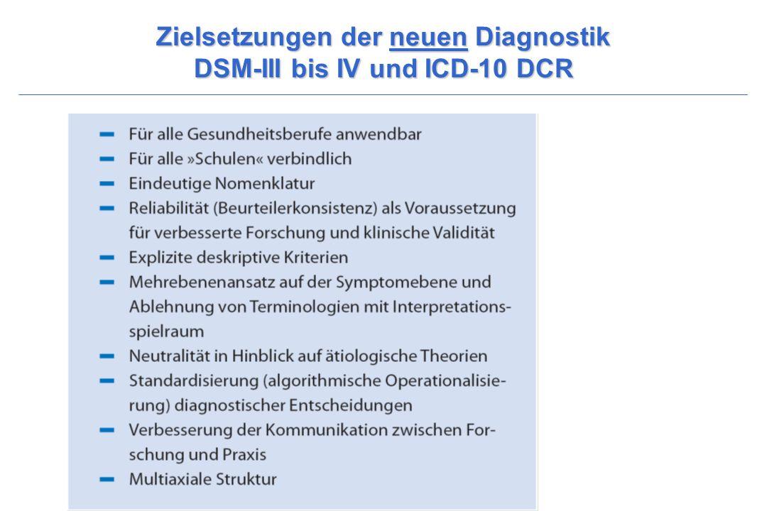 Zielsetzungen der neuen Diagnostik DSM-III bis IV und ICD-10 DCR