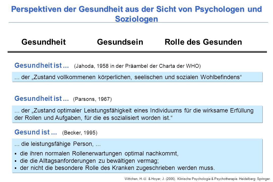 Perspektiven der Gesundheit aus der Sicht von Psychologen und Soziologen