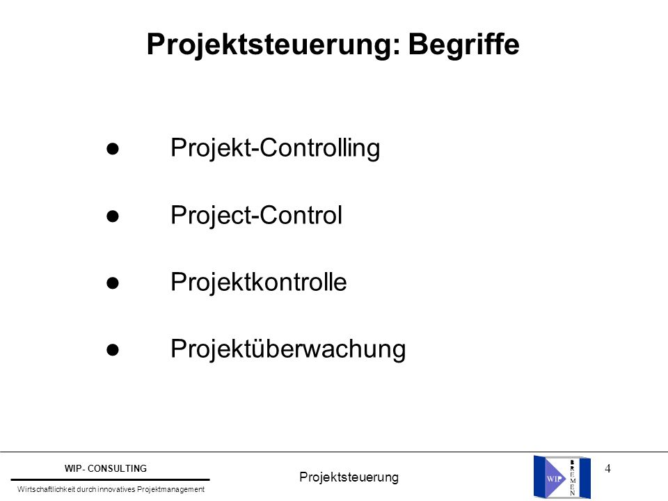 Projektsteuerung: Begriffe