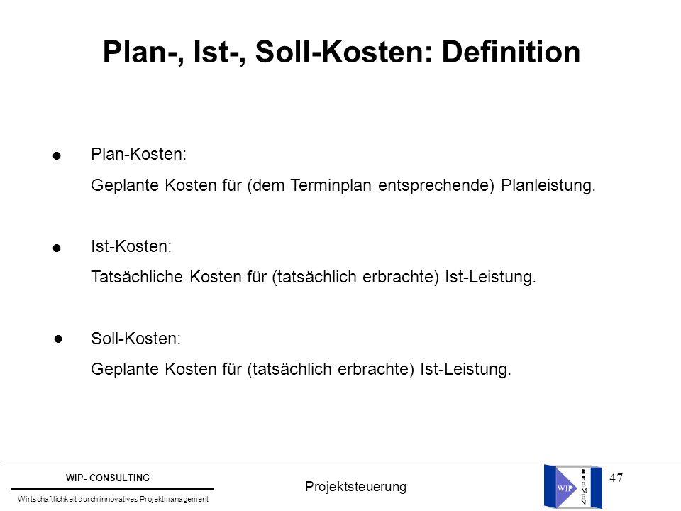 Plan-, Ist-, Soll-Kosten: Definition