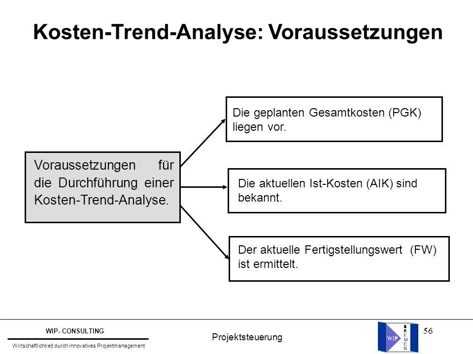 Kosten-Trend-Analyse: Voraussetzungen