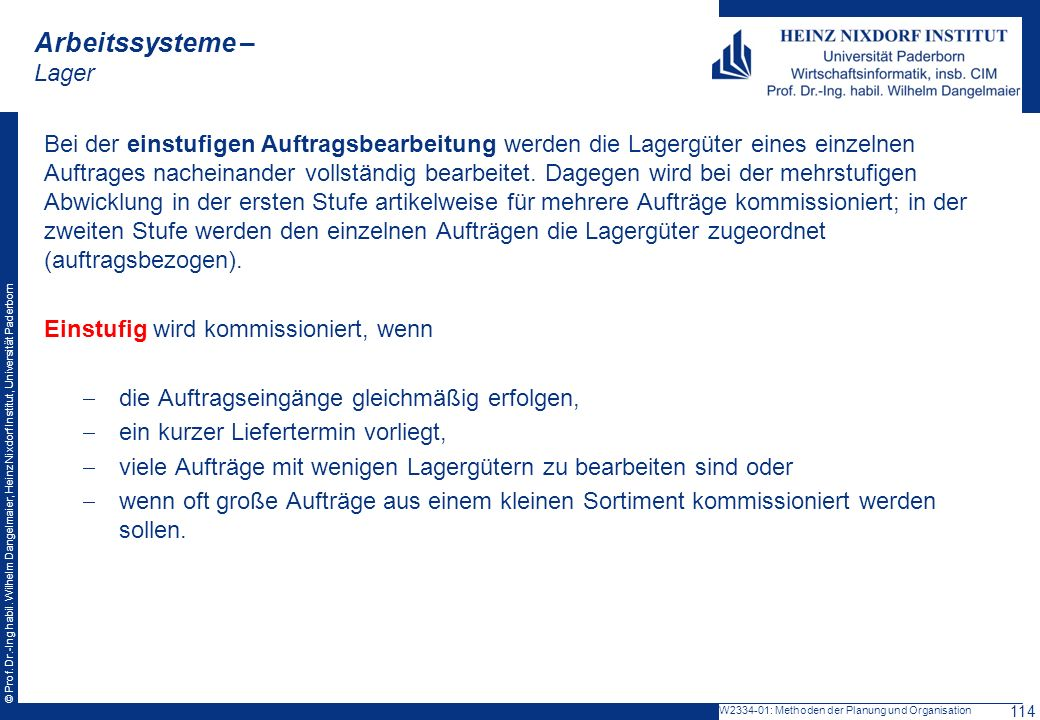 Arbeitssysteme – Lager
