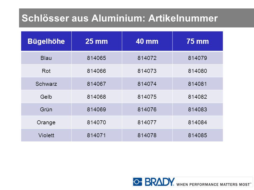 Schlösser aus Aluminium: Artikelnummer
