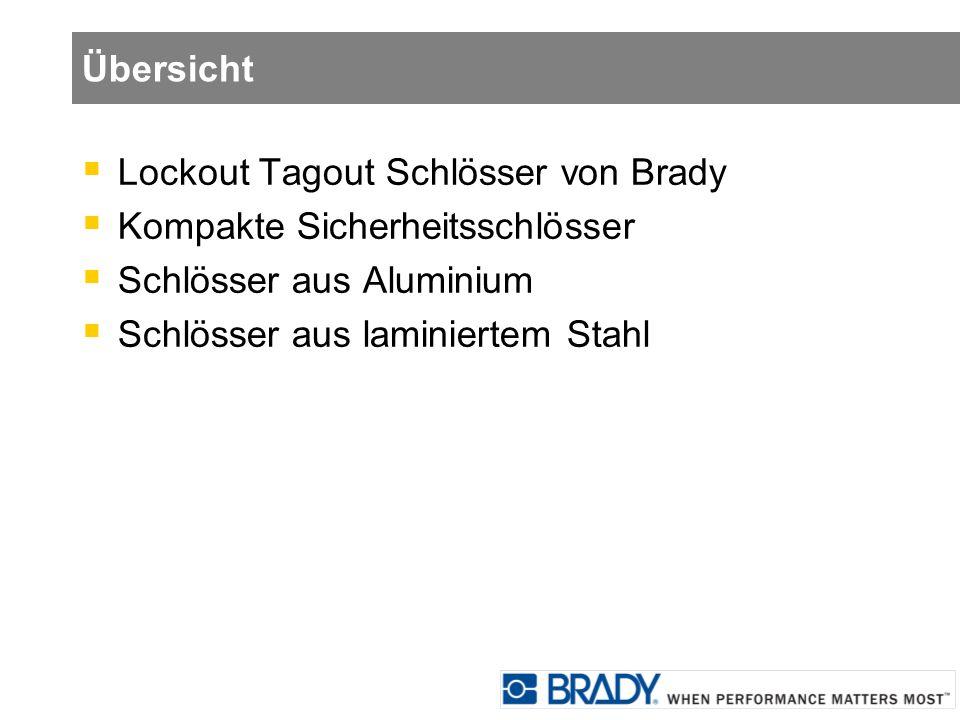 Übersicht Lockout Tagout Schlösser von Brady. Kompakte Sicherheitsschlösser. Schlösser aus Aluminium.