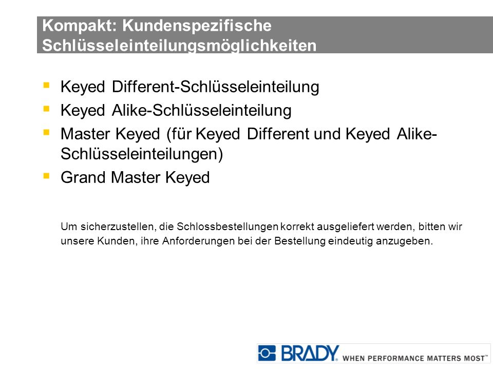 Kompakt: Kundenspezifische Schlüsseleinteilungsmöglichkeiten