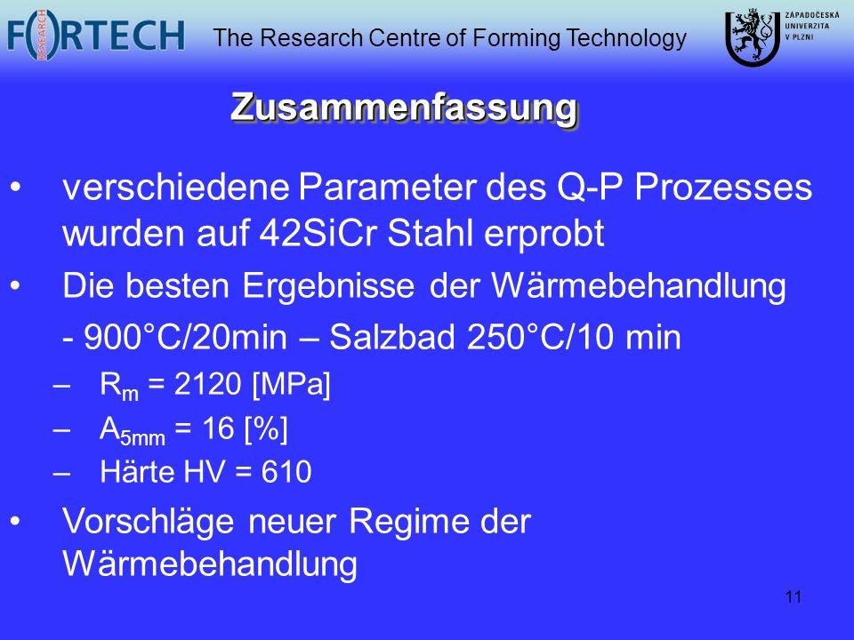 Zusammenfassung verschiedene Parameter des Q-P Prozesses wurden auf 42SiCr Stahl erprobt. Die besten Ergebnisse der Wärmebehandlung.