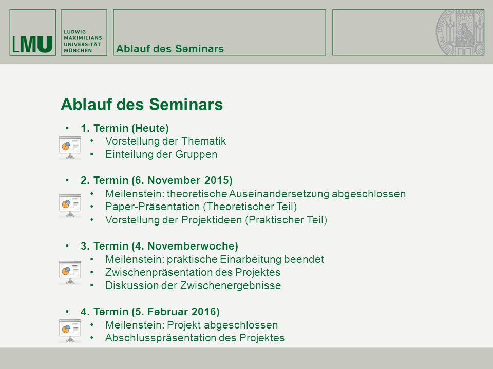 Ablauf des Seminars Ablauf des Seminars 1. Termin (Heute)