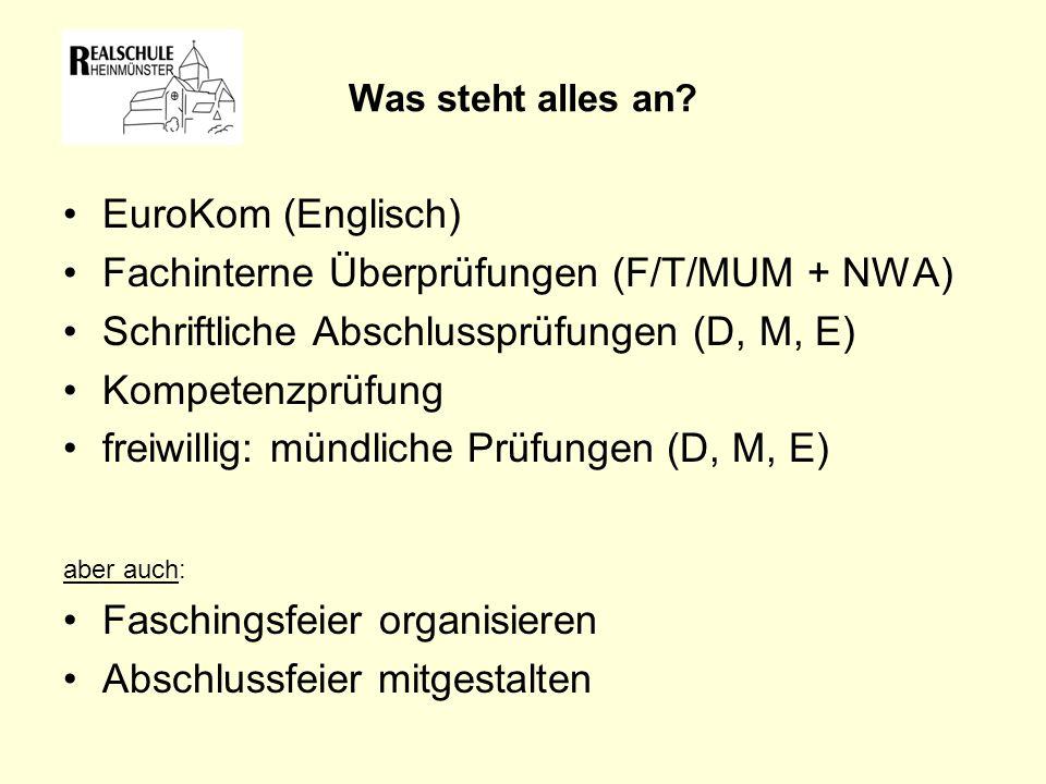 Fachinterne Überprüfungen (F/T/MUM + NWA)