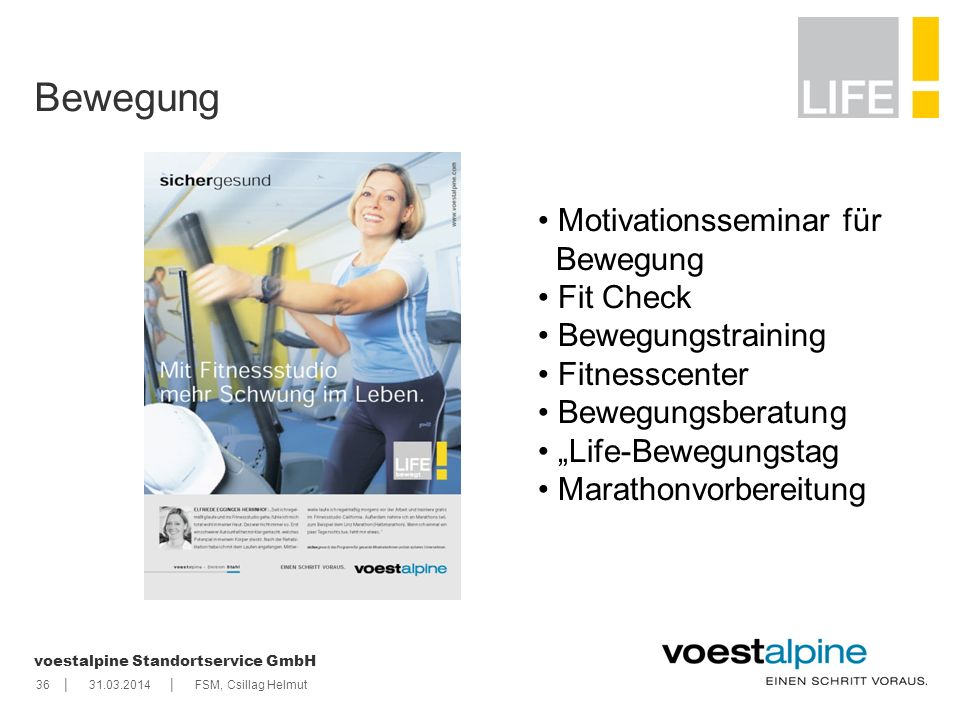 Bewegung Motivationsseminar für Bewegung Fit Check Bewegungstraining
