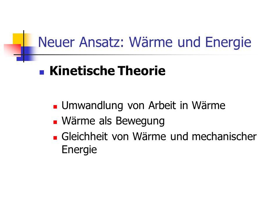Neuer Ansatz: Wärme und Energie