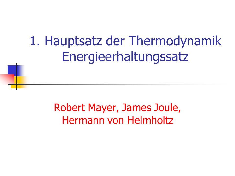 1. Hauptsatz der Thermodynamik Energieerhaltungssatz