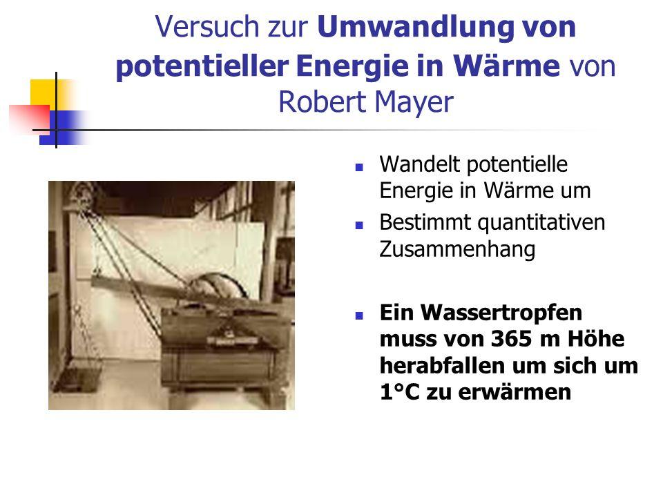 Versuch zur Umwandlung von potentieller Energie in Wärme von Robert Mayer