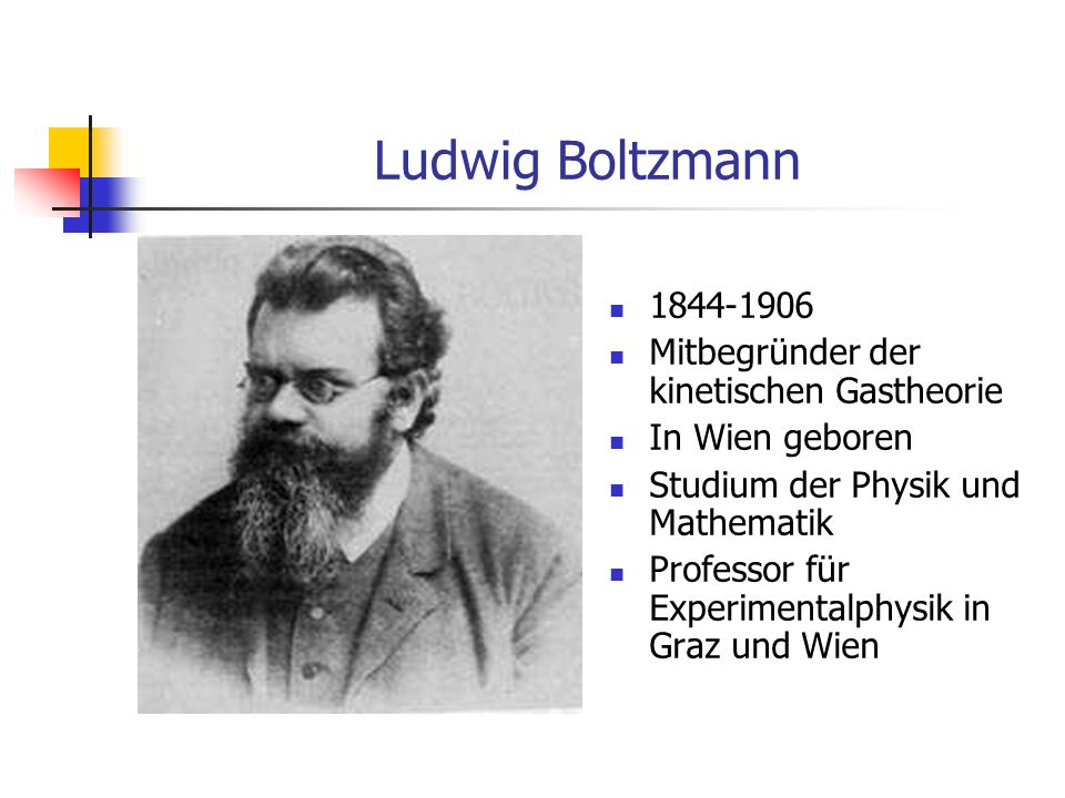 Ludwig Boltzmann 1844-1906 Mitbegründer der kinetischen Gastheorie