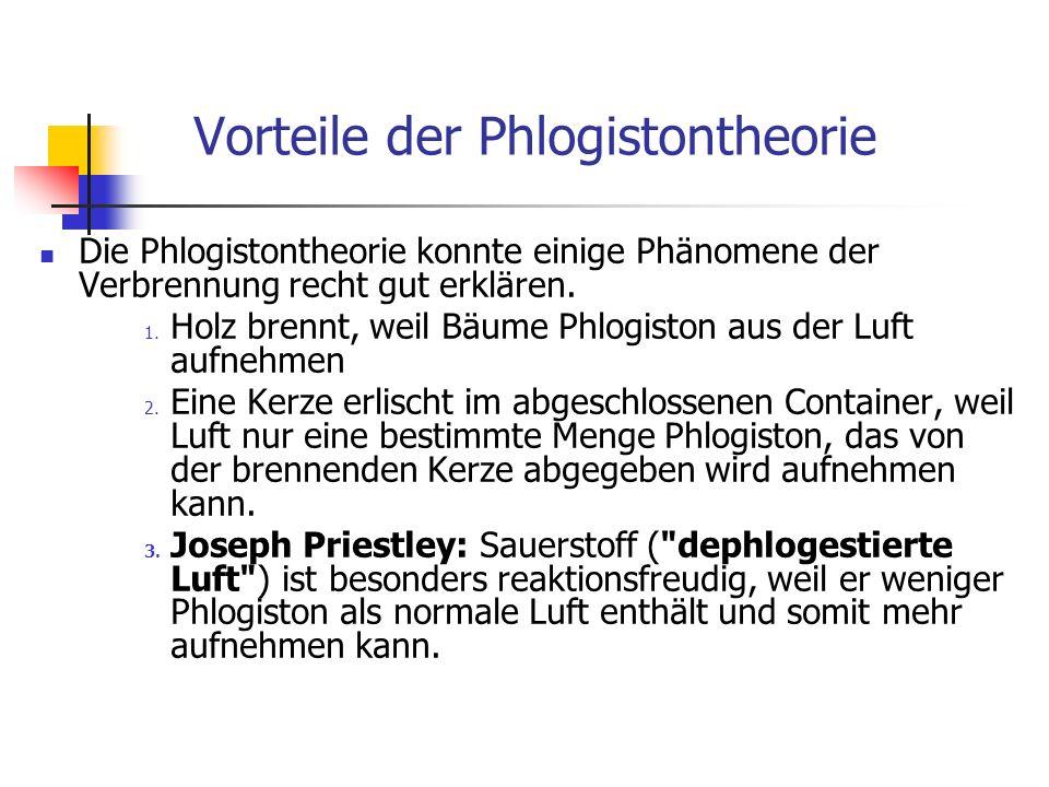 Vorteile der Phlogistontheorie
