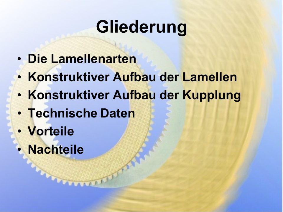Gliederung Die Lamellenarten Konstruktiver Aufbau der Lamellen