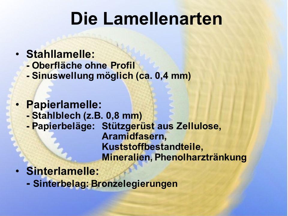 Die Lamellenarten Stahllamelle: - Oberfläche ohne Profil - Sinuswellung möglich (ca. 0,4 mm)