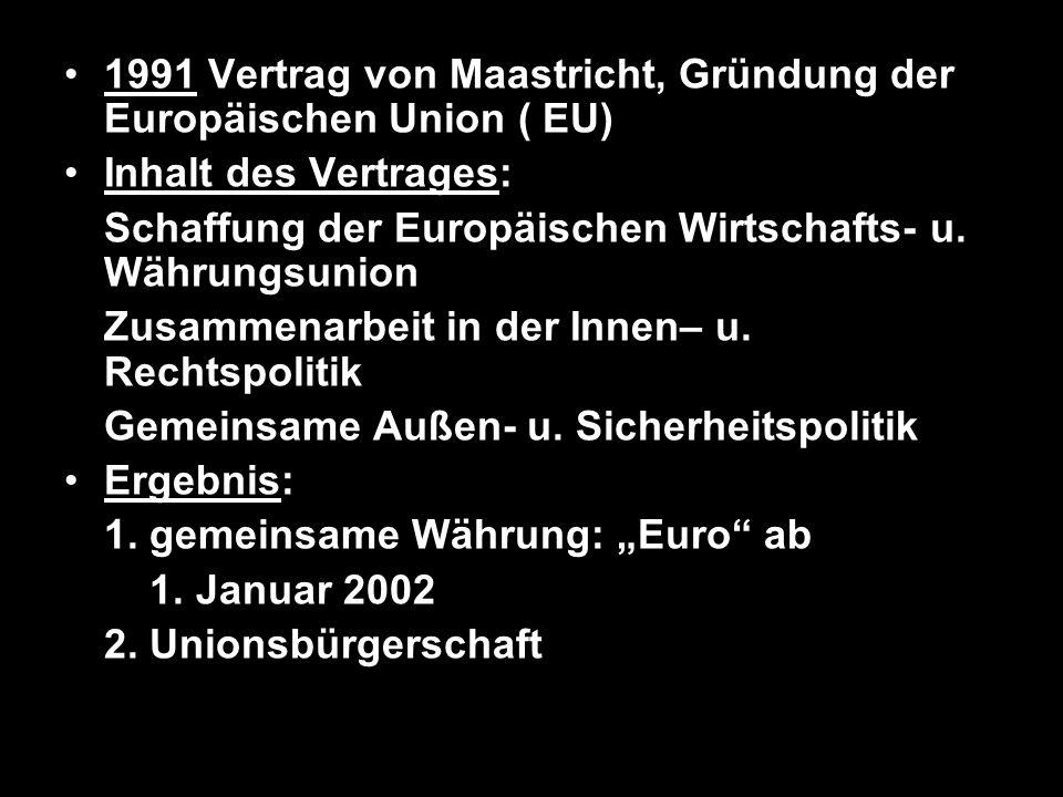 1991 Vertrag von Maastricht, Gründung der Europäischen Union ( EU)